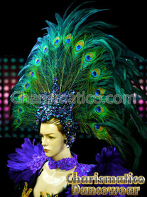 Large Peacock Showgirl Fan Headdress