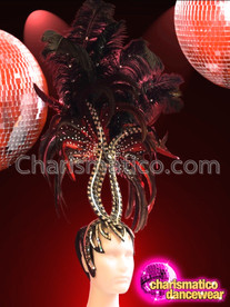 CHARISMATICO Tall Black Glitter Crystal Embellished Dark Red Feather Showgirl'S Headdress
