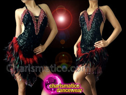 CHARISMATICO Red Beaded Fringe Black Sequin Dress With Feather Accented Skirt