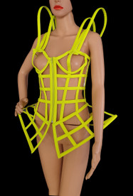 Neon Green Corset Styled Iridescent Frosted Vinyl Diva'S Cage Dress