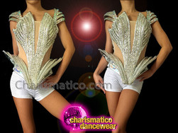 CHARISMATICO Open Sided Rhinestone Covered Crystallized Silver Lady Gaga Inspired Top