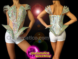 CHARISMATICO Open Sided Iridescent Crystal Covered Crystallized Lady Gaga Inspired Top