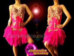 CHARISMATICO Self Corseted Fuchsia Ruffle Dance Dress With Peacock Lace Accents