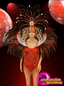 CHARISMATICO Red Beaded Leotard Based Costume Set With Headdress And Collar