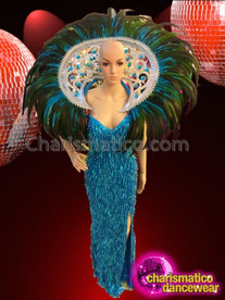 CHARISMATICO Stunning Sleek Blue Sequined Pageant Gown With Matching Backpack Collar