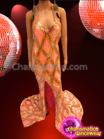 CHARISMATICO Sleek Peachy Orange Sequin Pageant Gown With Gold Lattice Design