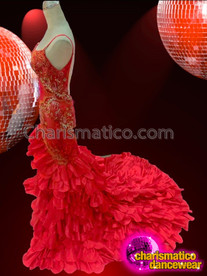 CHARISMATICO Diva's Fiery Red Sheer Lace Gown With Satin Ruffled Skirt
