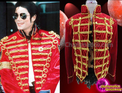 CHARISMATICO Military Band Inspired Gold Trimmed Red Velvet Micheal Jackson Jacket