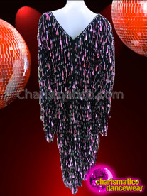 CHARISMATICO Full Length Purple Teardrop Sequin Drag Queen Wing Sleeve Gown