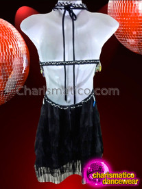 CHARISMATICO Sexy Black Fringed Rainbow Sequin Diva Dress With Silver Accents