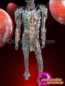 CHARISMATICO Complete Silver Mirror Tiled Futuristic Armor Like Diva Mens Costume