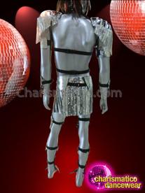 CHARISMATICO Complete Silver Mirror Tiled Futuristic Armor Like Diva Men's Costume