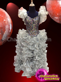 CHARISMATICO Metallic Silver and Black Sequined Top Gown With Shimmering Organza Ruffles