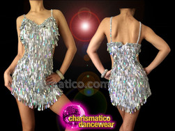 CHARISMATICO Sexy Side Cutout Iridescent Silver Teardrop Sequin Latin Dance Dress