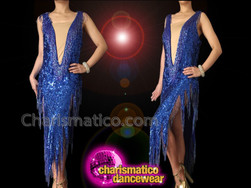 'Take Me Home' Sexy Cleavage Illusion Royal Blue Cher Inspired Beaded Sequin Dress
