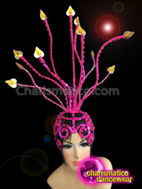 CHARISMATICO Openwork Pink Sequin Capped Gold Spiked Diva Showgirl's Cabaret Headdress