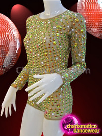 CHARISMATICO Sheer Gold And Iridescent Crystal Studded Long Sleeve Diva Leotard