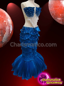 CHARISMATICO Pearl Accented Royal Blue Satin Scaled Two Piece Mermaid Gown