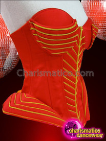 CHARISMATICO Metallic Gold Edged Quilted Red Showgirl'S Corset With Pink Tutu