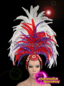 CHARISMATICO Royal Blue Accented Red And White Feather Showgirl'S Diva Headdress