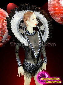CHARISMATICO Sheer Black And White Showgirl's Leotard With Matching Backpack Collar