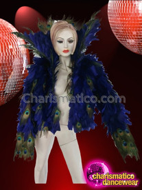 CHARISMATICO Deep Royal Blue Feather Diva Jacket With Peacock Plume Accents