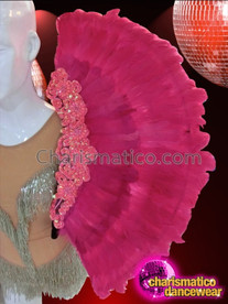 CHARISMATICO Large Pink Sequin Appliqué Accented Fuchsia Feather Cabaret Collar Backpack