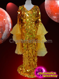 CHARISMATICO Drag Queen'S Gold Jumbo Sequin Diva Gown With Organza Sleeves