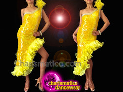 CHARISMATICO Asymmetrical Crystal Trimmed Lemon Yellow Sequin Dress With Organza Fringe