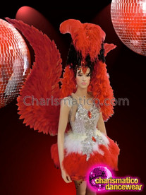 CHARISMATICO Complete Red Feather Showgirl'S Costume Set With Silver Dolly Dress