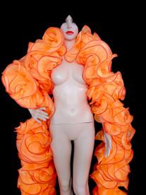 CHARISMATICO Classic Orange Trimmed Organza Ruffle Showgirl'S Cabaret Burlesque Boa