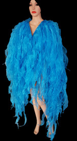 CHARISMATICO  Blue Flame-Ruffle Shimmering Organza Tissue Drag Queen Jacket