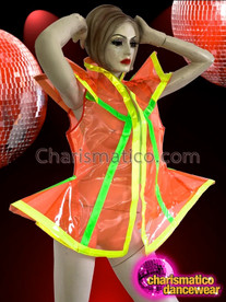 CHARISMATICO Sleeveless Orange Neon Green And Yellow Trimmed Transparent Diva Jacket