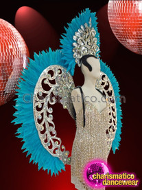 CHARISMATICO Blue Feathered Silver Glitter Openwork Swirl Headdress And Matching Backpack