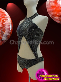 CHARISMATICO High Necked Metallic Black Spike Studded Diva Leotard With Cutouts