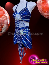 CHARISMATICO Royal Blue And White Patterned Sequined Top With Matching Skirt