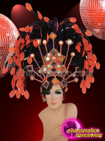 CHARISMATICO Gold, Crystal, And Orange Accented Black Feather Brazilian Samba Headdress