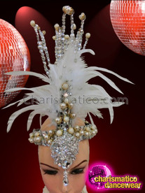 CHARISMATICO Stunning Glittery Silver And Pearl White Feather Diva Burlesque Headband