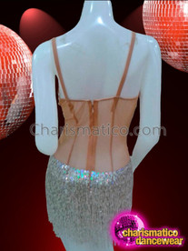CHARISMATICO Sheer Nude Dancer Leotard With Iridescent Crystals And Beaded Fringe