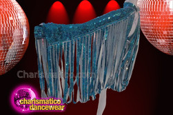 CHARISMATICO Mock Turtleneck Blue Sequin Ribbon Looped Fringe Sleeve Diva Jacket
