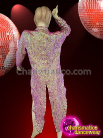 CHARISMATICO Sexy Shimmering Iridescent Fuchsia Bead Cropped Cabaret Tuxedo Diva Jacket