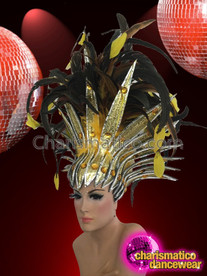 CHARISMATICO Sleek Silver Edged Yellow Tipped Black Feather Cabaret Showgirl Headdress