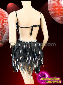 CHARISMATICO Halter Style Silver Accented Black Dance Dress With Organza Skirt