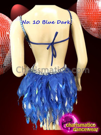 CHARISMATICO Halter Style Silver Accented Royal Blue Dress With Organza Skirt