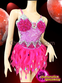 CHARISMATICO Halter Style Silver Accented Fuchsia Dance Dress With Organza Skirt