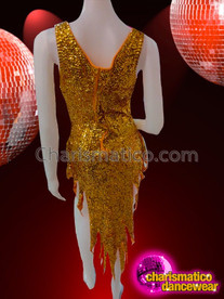 CHARISMATICO Sassy Gold Sequin Beaded Cher Inspired Modesty Panel Diva Dress
