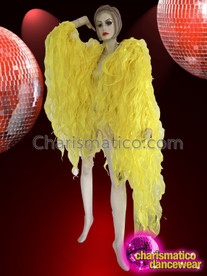 CHARISMATICO Bright Yellow Flame Ruffle Shimmering Tissue Organza Drag Queen Jacket