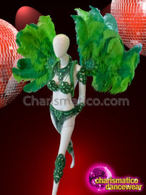 CHARISMATICO Emerald Green Beaded Samba Costume With Matching Ostrich Feather Wings