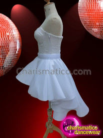 CHARISMATICO Soothing White Lace Corset Top With Coordinated Asymmetrical Hem Skirt