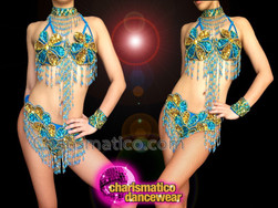 CHARISMATICO Exotic Beaded Blue And Gold Showgirl'S Bra With Matching Thong